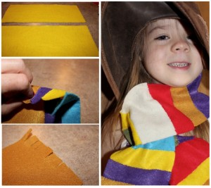 Felt pieces cut into strips to make an easy mini scarf for kids.